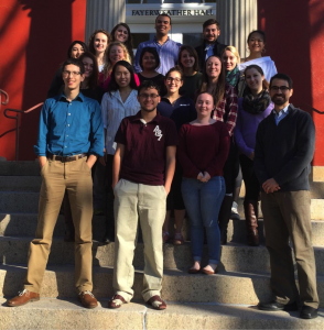 "Vikram Jaswal's ""Autism: From Neurons to Neighborhoods"" undergraduate seminar (Fall, 2015). Students: Hudson Burgess, Taylor Clark, Casey Coggins, Melissa Destefano, Adrienne Doebrich, Jorge Gonzales Mejia, Kyle Johnson, Ariel Kao, Casey Lunn, Ana Mendelson, Nour Mhaimeed, Emily Mosher, Abby Ng, Trevie Pearlman, Thomas Pilnik, Vanessa Rave, Shubhangi Sinha, and Erin Vines."